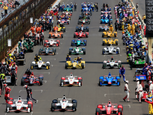 The classic Indianapolis 500 starting formation - 11 rows of 3.