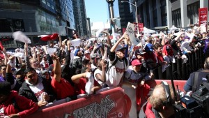 "Thousand of Raptor fans have been gathering each game in what's come to be known as ""Jurassic Park"" - the square outside Air Canada Centre.  What I wouldn't give, to be a part of that crowd for the Eastern Conference Final!"